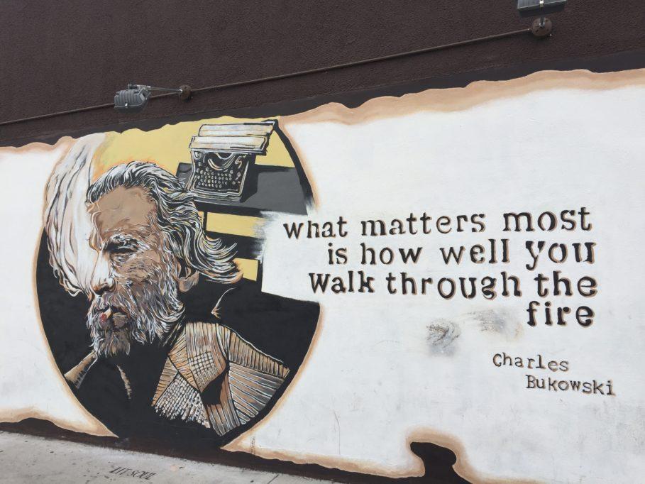 Wandbild von Bukowski an der Kingswell Ave