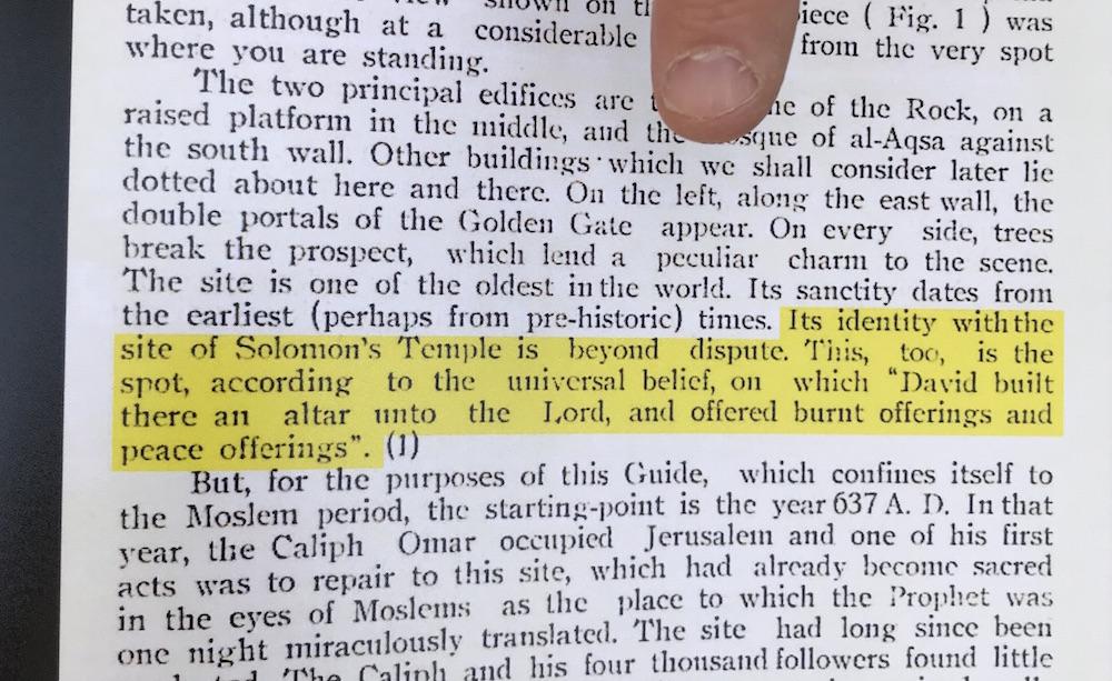 So schrieb der Oberrat der Muslime 1930 in einem Büchlein über den Standort des muslimischen Felsendoms (Foto: Til Biermann)